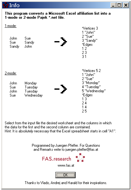 Pajek / How to: Convert Excel datasets into Pajek format