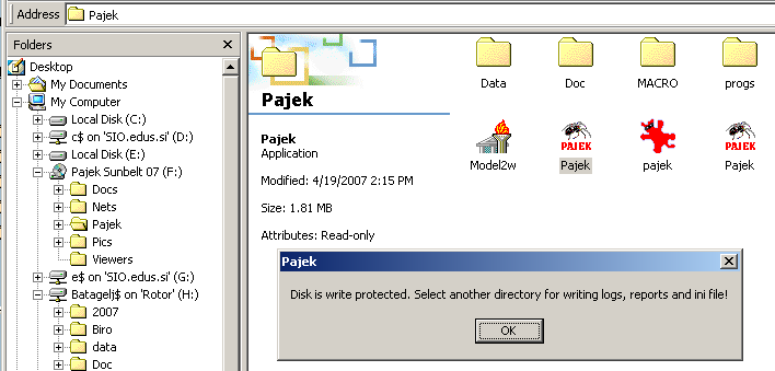 Pajek / How to: Run Pajek from read only location